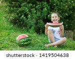 happy little child girl eating... | Shutterstock . vector #1419504638