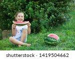 happy little child girl eating... | Shutterstock . vector #1419504662