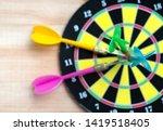 close up green darts arrow on... | Shutterstock . vector #1419518405