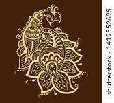 mehndi flower pattern with... | Shutterstock .eps vector #1419552695