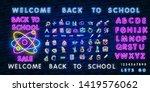 back to school neon glowing... | Shutterstock .eps vector #1419576062