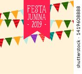 decorative festa junina flags... | Shutterstock .eps vector #1419608888