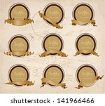 set of labels with old ribbons | Shutterstock .eps vector #141966466