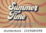 Summer Time. Retro 3d Font In...