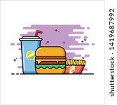 junk food flat design... | Shutterstock .eps vector #1419687992