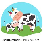 a cow and her calf together on... | Shutterstock .eps vector #1419733775