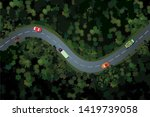 top view of a forest road with... | Shutterstock .eps vector #1419739058