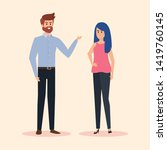 man and woman with elegant... | Shutterstock .eps vector #1419760145