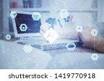 multi exposure of woman hands... | Shutterstock . vector #1419770918