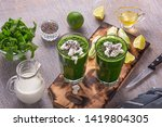 spinach and celery smoothies... | Shutterstock . vector #1419804305