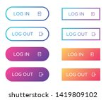 log in log out web buttons set. ...