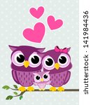 Cute Owls Couple With Baby Owl...