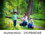 young woman mother applying... | Shutterstock . vector #1419868268