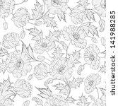 poppies seamless background.... | Shutterstock .eps vector #141988285