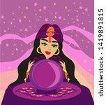 fortune teller woman reads the... | Shutterstock . vector #1419891815