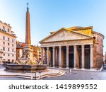 pantheon and fontana del... | Shutterstock . vector #1419899552