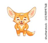 laughing fennec fox with paws... | Shutterstock .eps vector #1419899768