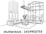 living room interior sketch... | Shutterstock .eps vector #1419903755