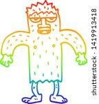 Stock vector rainbow gradient line drawing of a cartoon bigfoot creature 1419913418