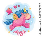 flying pink unicorn with a...   Shutterstock . vector #1419927212