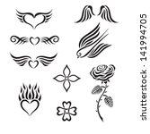 set of tribal tattoo including... | Shutterstock .eps vector #141994705