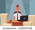 tired employee sitting in his... | Shutterstock .eps vector #1420007438