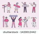 people holding arrows. flat... | Shutterstock .eps vector #1420012442