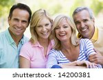 two couples outdoors smiling   Shutterstock . vector #14200381