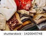 pile of clothes. closedup of...   Shutterstock . vector #1420045748