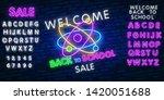 sale back to school neon sign... | Shutterstock .eps vector #1420051688