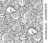 sea creatures doodles vector... | Shutterstock .eps vector #1420080335