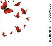 beautiful red butterflies ... | Shutterstock .eps vector #1420096208