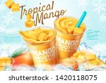 mango frozen smoothie ads with... | Shutterstock .eps vector #1420118075