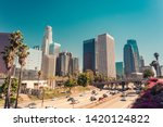 Stock photo panoramic view on downtown of los angeles california usa over route vintage retro toned 1420124822