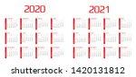 calendar 2020 and 2021 template....   Shutterstock .eps vector #1420131812