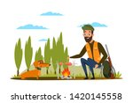 man with dog at campfire flat...   Shutterstock .eps vector #1420145558