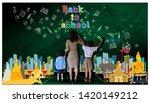 teacher hand in hand male... | Shutterstock . vector #1420149212