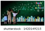 teacher hand in hand male... | Shutterstock . vector #1420149215