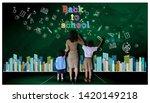 teacher hand in hand male... | Shutterstock . vector #1420149218