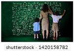 teacher hand in hand male... | Shutterstock . vector #1420158782
