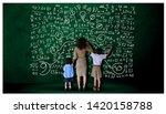 teacher hand in hand male... | Shutterstock . vector #1420158788