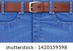 denim pants with leather belt.... | Shutterstock .eps vector #1420159598