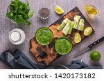 spinach and celery smoothies... | Shutterstock . vector #1420173182