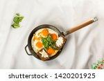 healthy breakfast. eggs with... | Shutterstock . vector #1420201925