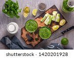 spinach and celery smoothies ... | Shutterstock . vector #1420201928