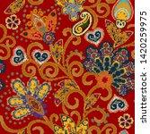 flower pixel art. seamless ...   Shutterstock . vector #1420259975