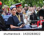 Small photo of Meghan Markle Prince Harry stock, London uk, 8 June 2019- Meghan Markle Prince Harry 1st outing since baby. Trooping the colour Royal Family Buckingham Palace Press stock photo, photograph, image