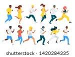 people running flat vector... | Shutterstock .eps vector #1420284335
