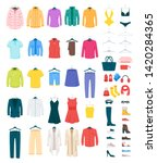 men and women clothes on... | Shutterstock .eps vector #1420284365