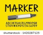 font alphabet marker effect in... | Shutterstock .eps vector #1420287125